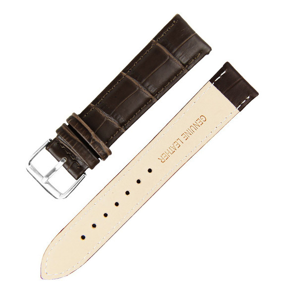 21MM BROWN BAMBOO GENUINE LEATHER WATCH STRAP