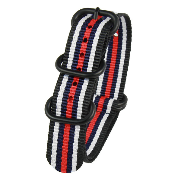 20MM BLACK W RED & BLUE STRIPES NYLON ZULU STRAP