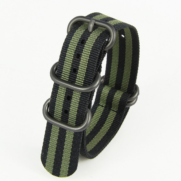 18MM BLACK GREEN NYLON ZULU STRAP