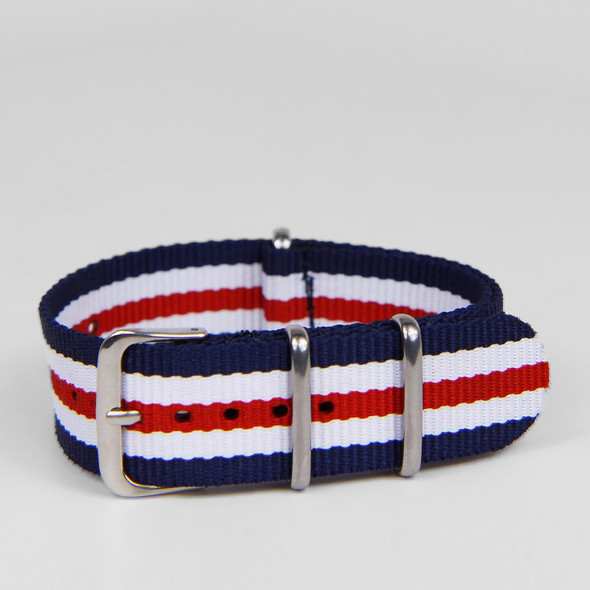 24MM STRIPED STRAP BLUE RED WHITE
