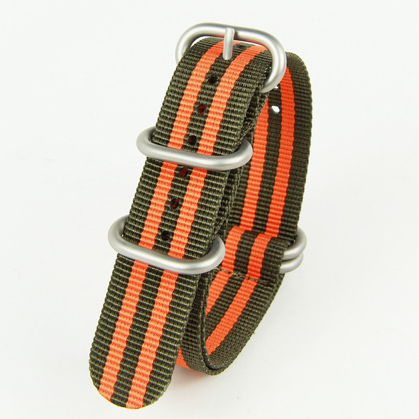 22MM CROCODILE GREEN WITH ORANGE NYLON ZULU STRAP