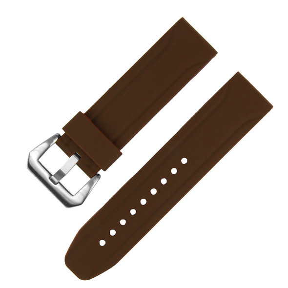24MM BROWN SILICONE WATCH STRAP