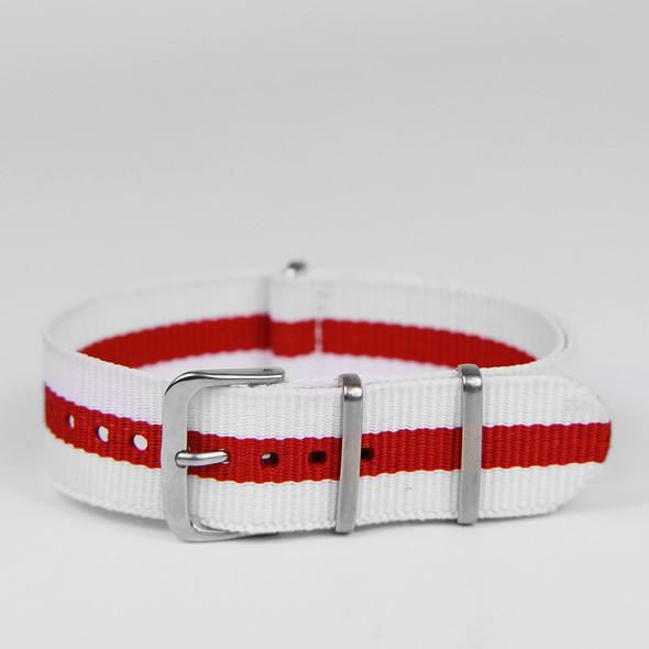 18MM STRAP WHITE RED