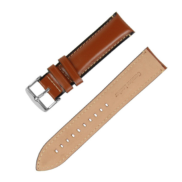 24MM BROWN GENUINE LEATHER WATCH STRAP
