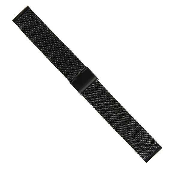 18MM MESH STAINLESS STEEL BLACK WATCH STRAP
