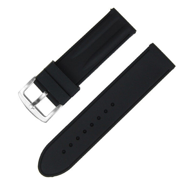 24MM BLACK SILICONE WATCH STRAP