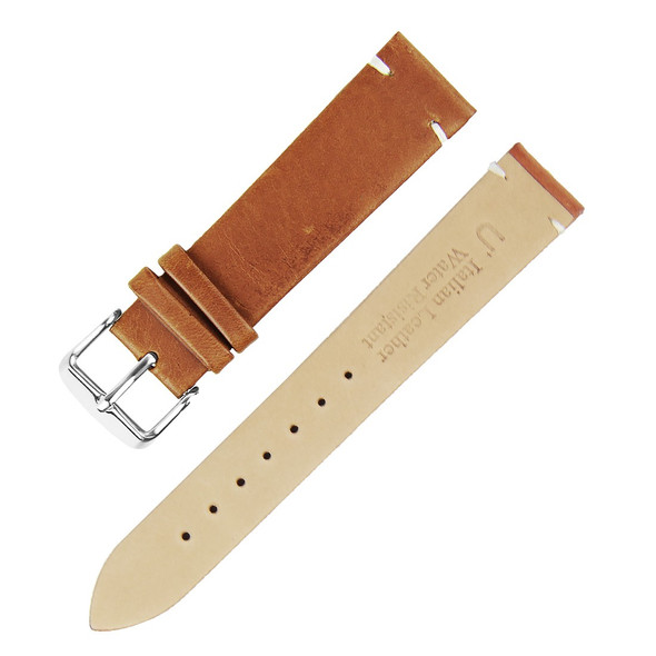 18MM ITALIAN LEATHER BROWN WATCH STRAP