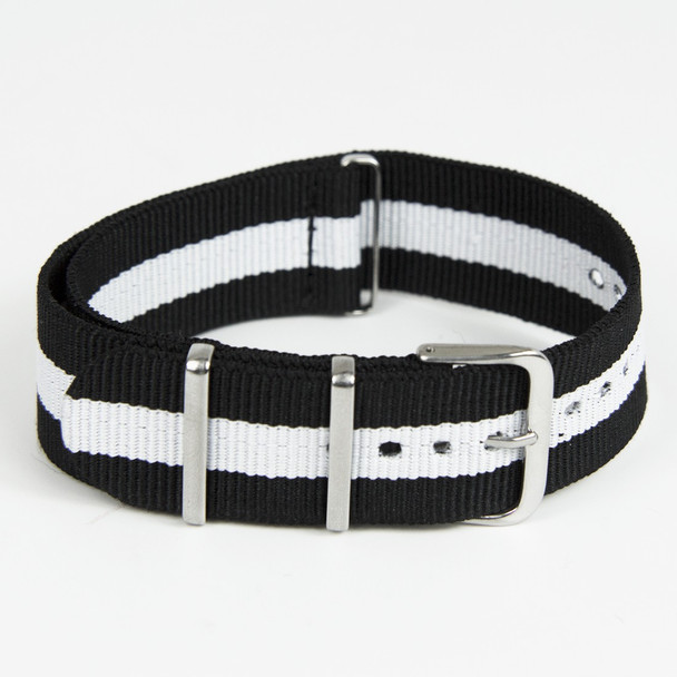 22mm Black-White Nylon Strap