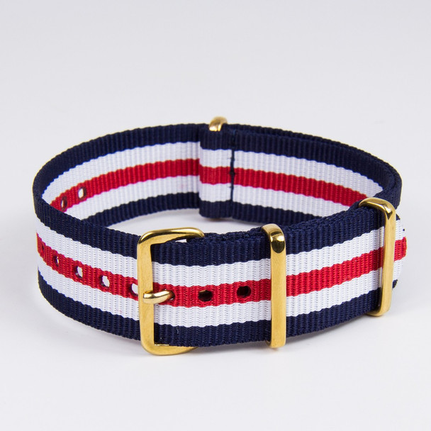 20MM STRIPED  BLUE WHITE RED