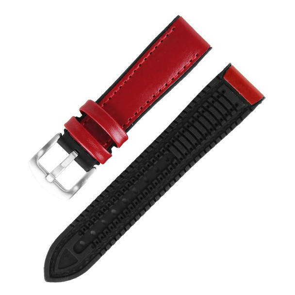 20MM RED LEATHER BLACK RUBBER WATCH STRAP