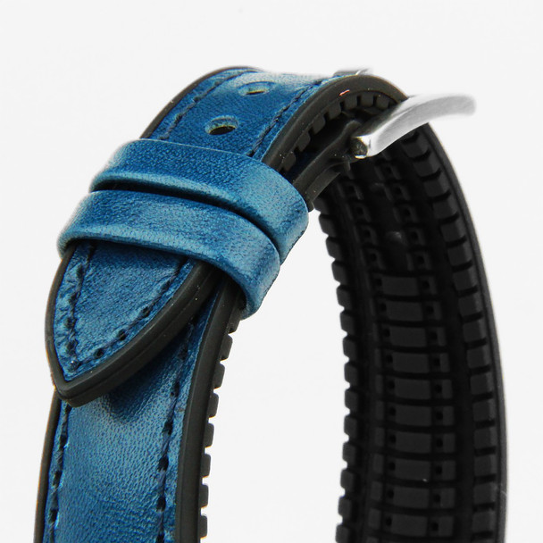 20MM BLUE LEATHER BLACK RUBBER WATCH STRAP