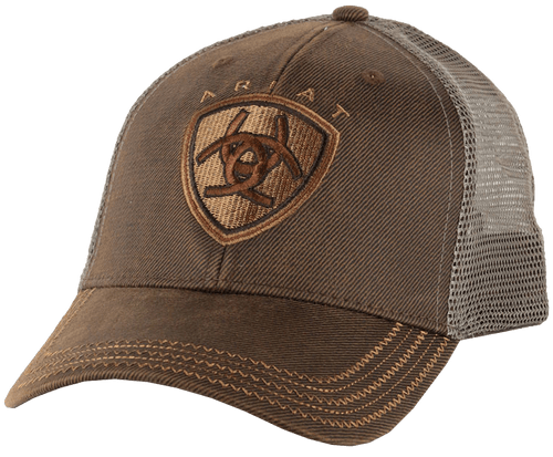 Ariat Brown Oilskin With Mesh Back Logo Velcro Back Cap