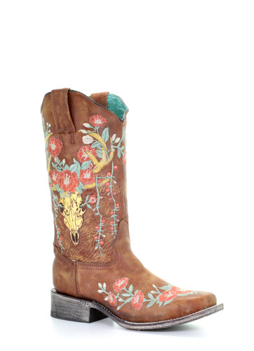 Corral Women's Tan Deer Skull Overlay & Floral Embroidered Western Boot