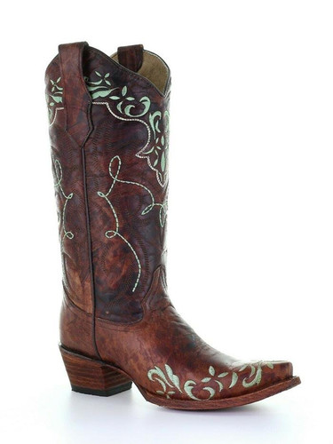 Circle G Women's Brown Embroidered  Western Boot