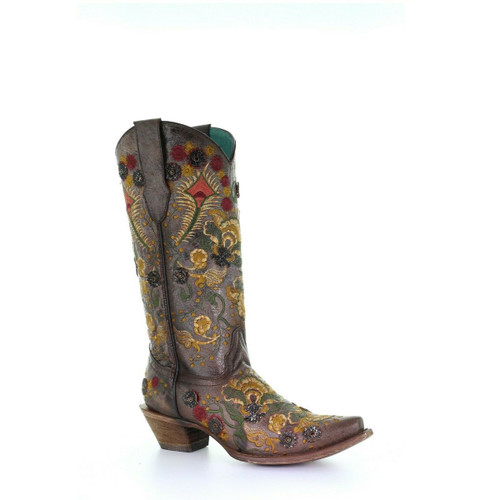 Corral Women's Brown Flowered Embroidery and Crystal Western Boots
