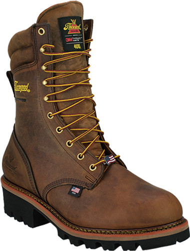 "Thorogood Men's USA Logger 9"" Waterproof Safety Toe Insulated Boot - Brown"