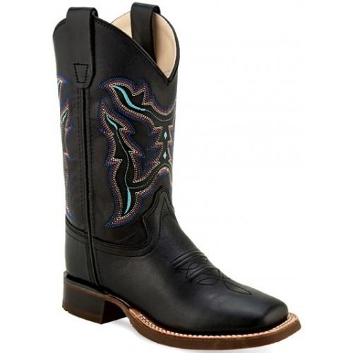Old West Children's Black Multi Color Stitch Square Toe Western Boots