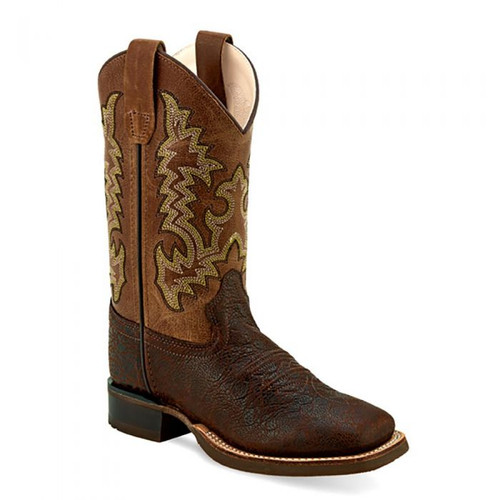 Old West Children's Leather Broad Square Toe Brown Boots