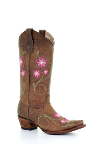 Circle G Women's Tan Floral Embroidery Snip Toe Western Boot