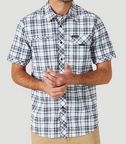 Wrangler Men's Short Sleeve ATG Plaid Stretch Utility Shirt