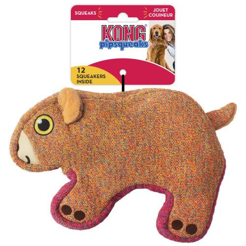 Kong Pipsqueaks Orange Bear Dog Toy