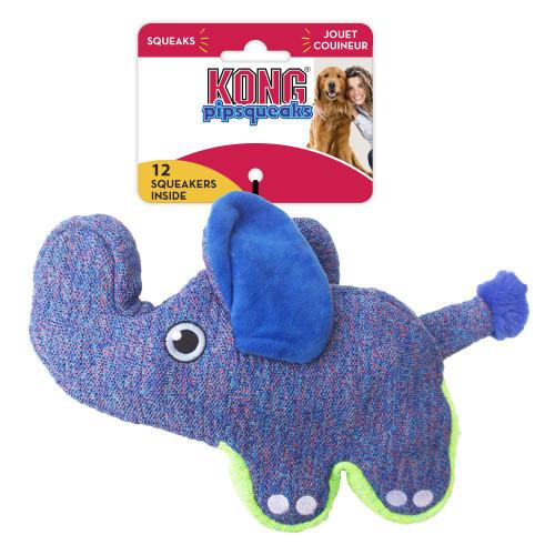 Kong Pipsqueaks Blue Elephant Dog Toy