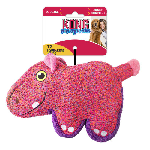 Kong Pipsqueaks Pink Hippo Dog Toy