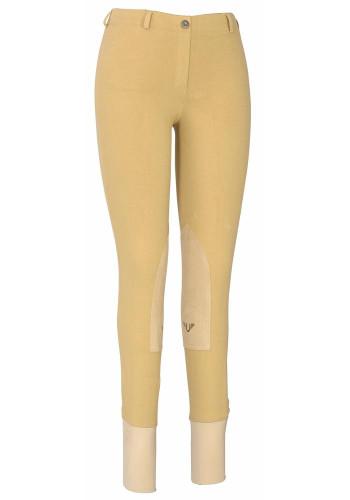 TuffRider Ladies Cotton Lowrise Pull-on Knee Patch Breeches - Light Tan