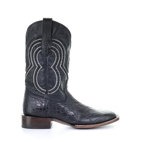 Corral Men's Black and Grey Alligator Square Toe Boot