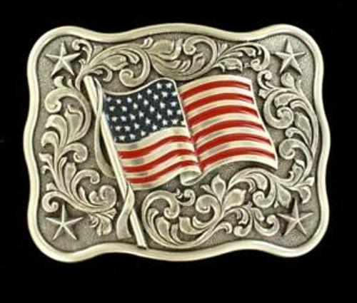 Nocona Youth Rectangular American Flag Belt Buckle