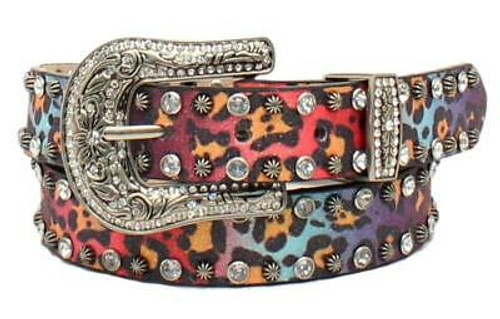 Angel Ranch Girls Glitter Leopard Print Belt