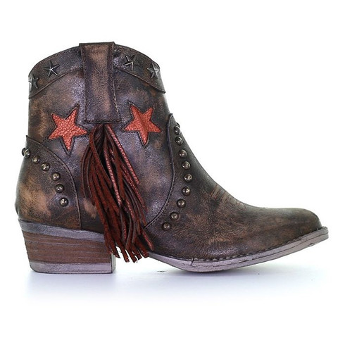 Circle G Women's Distressed Brown Fringe, Studs & Laser Ankle Boot