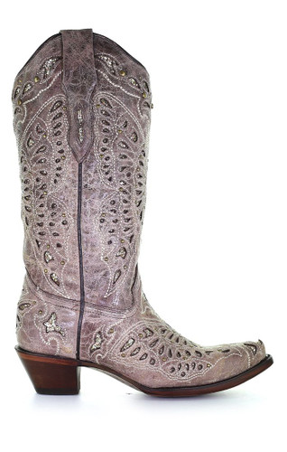 Corral Women's Glitter Butterfly with Inlay, Embroidery and Studs Light Brown Western Boot