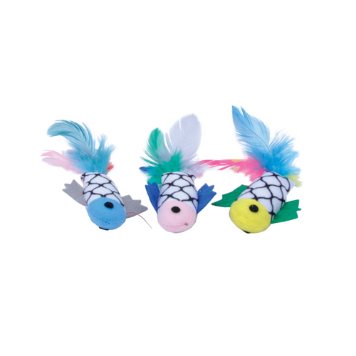 Coastal Turbo Fish with Feathers Cat Toy