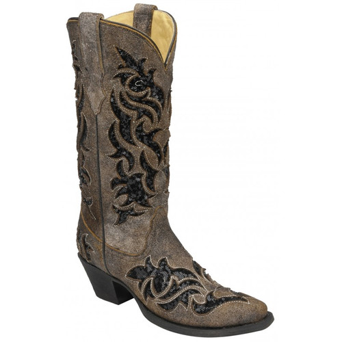 Corral Women's Brown/ Black Sequence Inlay