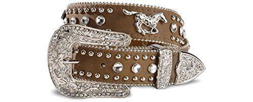 Nocona Girls Rhinestone Leather Belt -  Tan