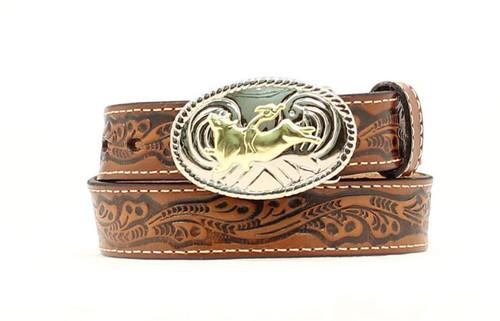 Nocona Kid's Bullrider Tooled Belt -  Brown