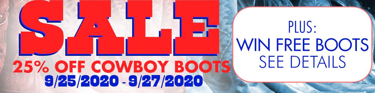 25% off Cowboy Boots 9/25-9/27/2020