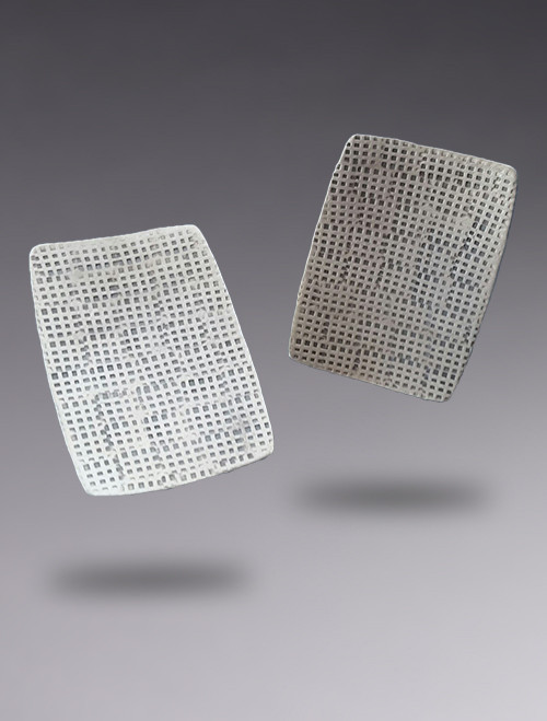 Textured Sterling Silver Concave Rectangle Earring