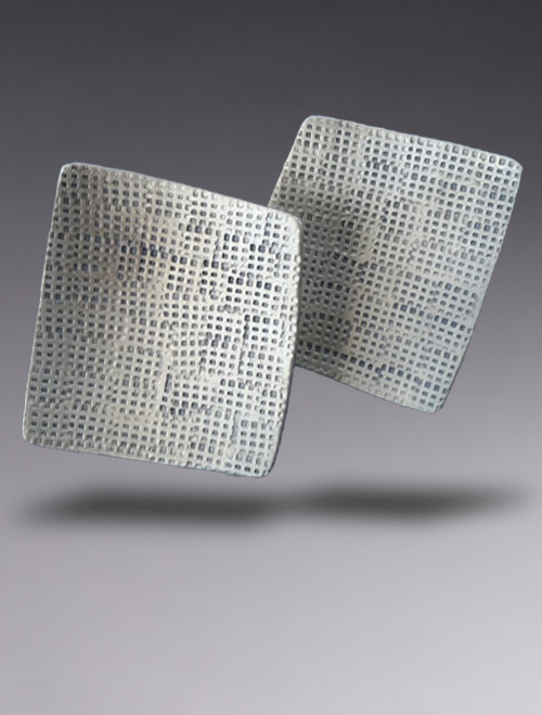 Textured Sterling Silver Concave Square Earring
