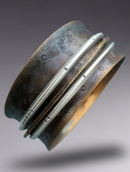 """1 1/4"""" Wide Bronze & Sterling Silver Bangle with 3 Floats"""