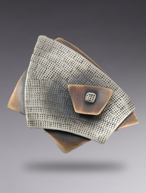 Curved Rectangle 3 Layer Brooch