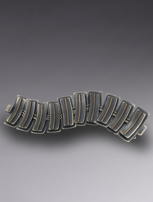 Sterling Silver and Bronze Layered Concave Link Bracelet