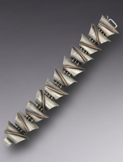 """Sterling & Bronze """"Twigs"""" Link Bracelet"""