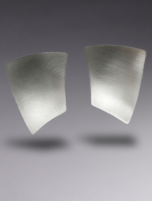 Bold Concave Geometric Sterling Silver Earring with Brushed Finish