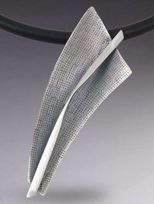 Sterling Silver Modernist Triangular Necklace