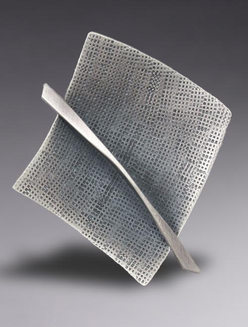 Sterling Silver Modernist Square Brooch