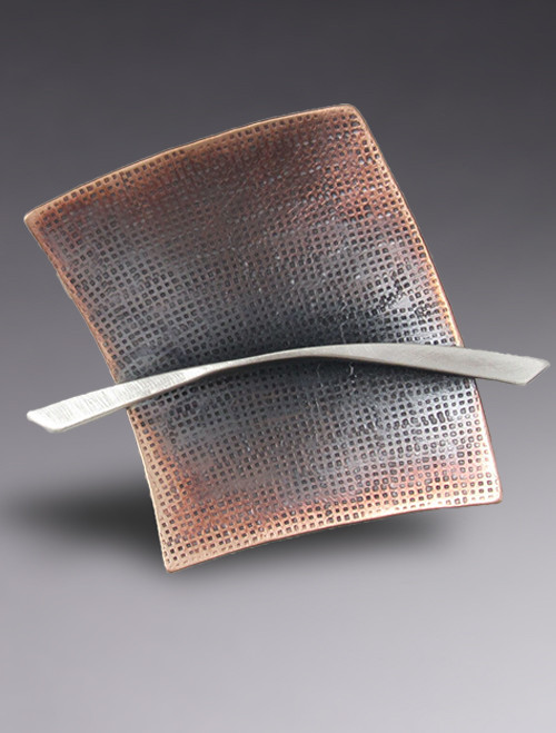 Bronze & Sterling Silver Modernist Square Brooch