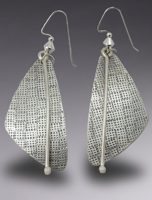 Large Sterling Silver Triangle  Dangle Earrings with Hand Stamped Texture