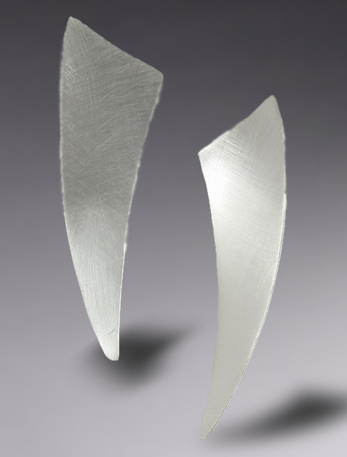 Brushed Mod Triangle Post  Earrings